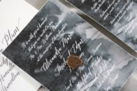 27 watercolor grey wedding invites accentuated with seals and threads