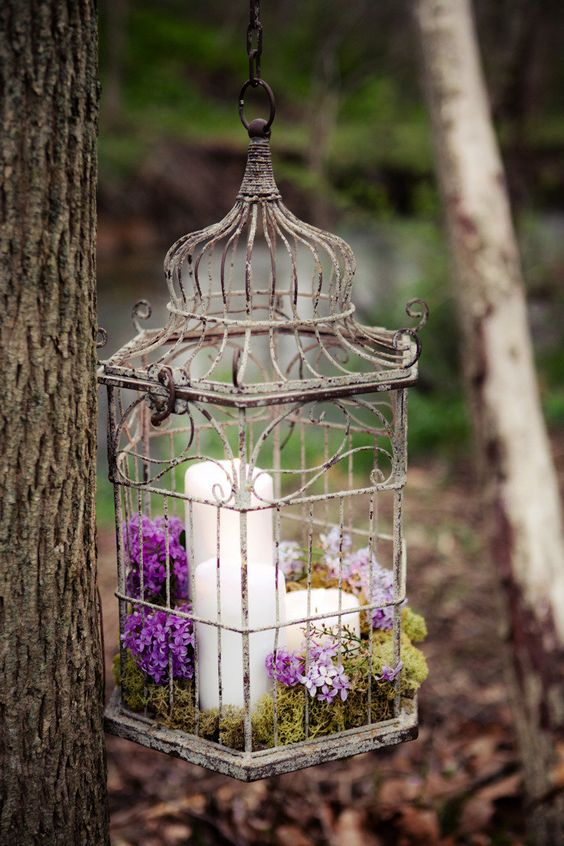 a vintage birdcage with moss and purple and lilac blooms can be suspended over the reception