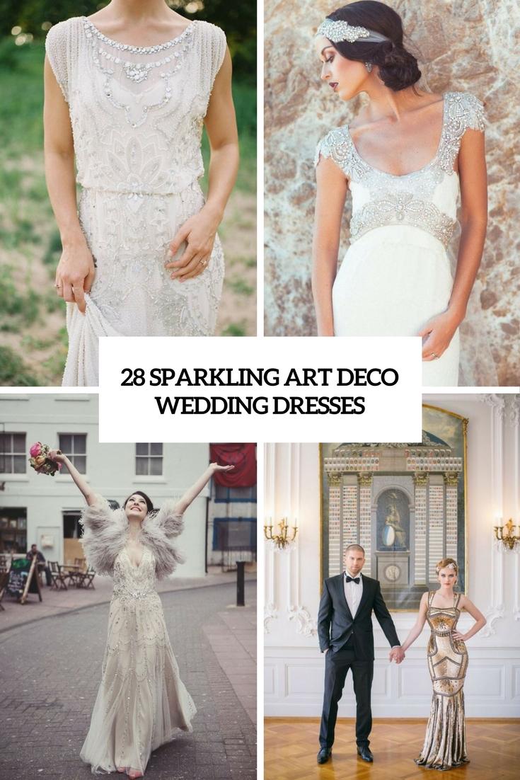 28 Sparkling Art Deco Wedding Dresses