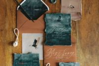28 watercolor teal wedding invites and copper envelopes and cards for a moody coastal wedding