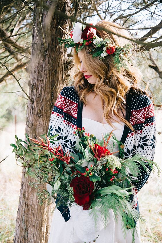 patterned cardigan brings a Christmas feel to the bridal look