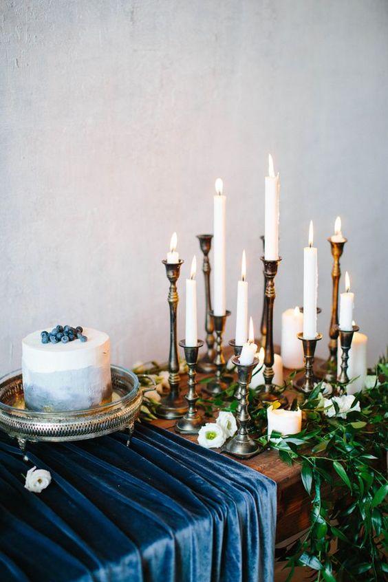 indigo velvet table runner and a watercolor indigo wedding cake with blueberry