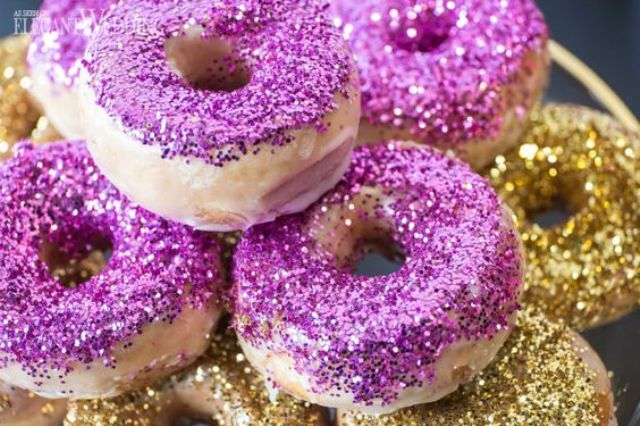 purple and gold glitter donuts will be a glam idea for your wedding