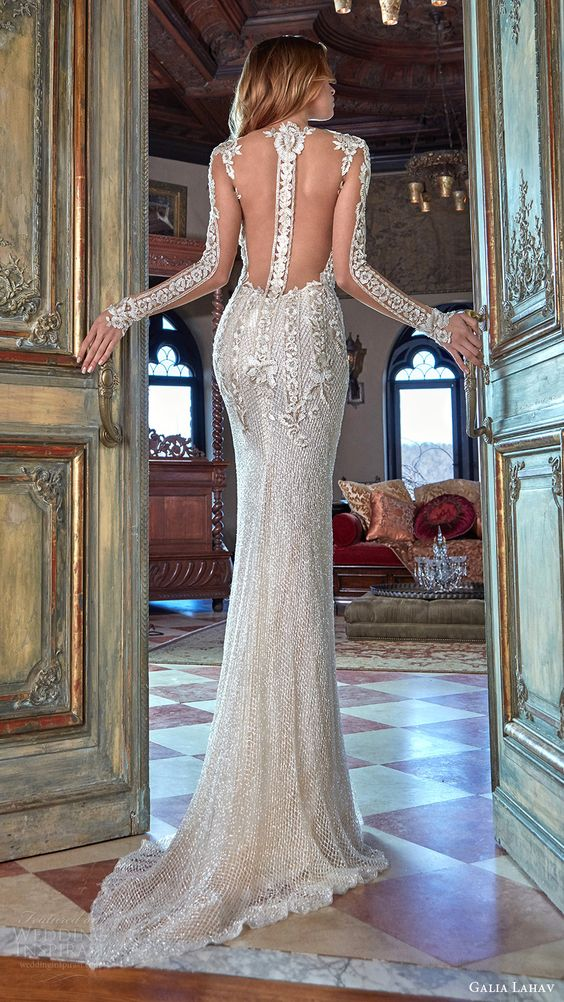 sparkling silver sheath wedding dress with illusion sleeves and an illusion racerback