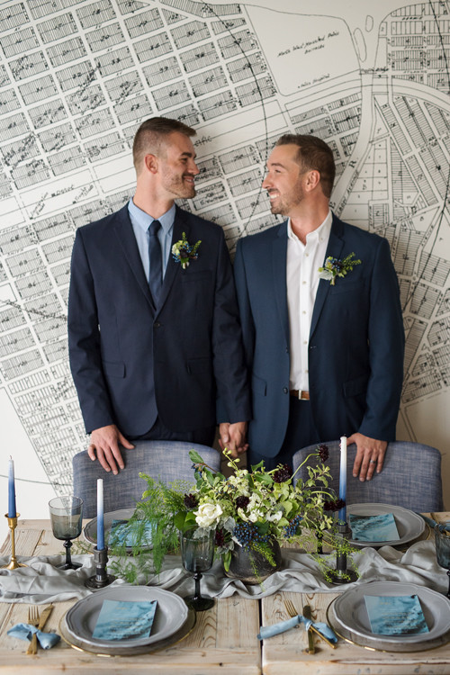 This couple inspired a creative designer team to make a beautiful modern industrial wedding editorial that represents the grooms at its best