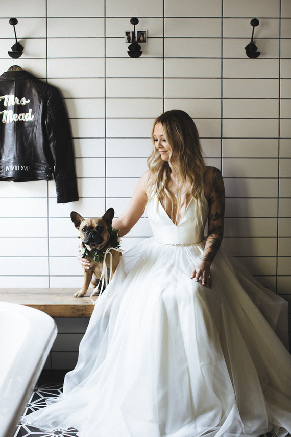 This stunning bride got married at home, the wedding was inspired by rock 'n roll and backyard intimacy