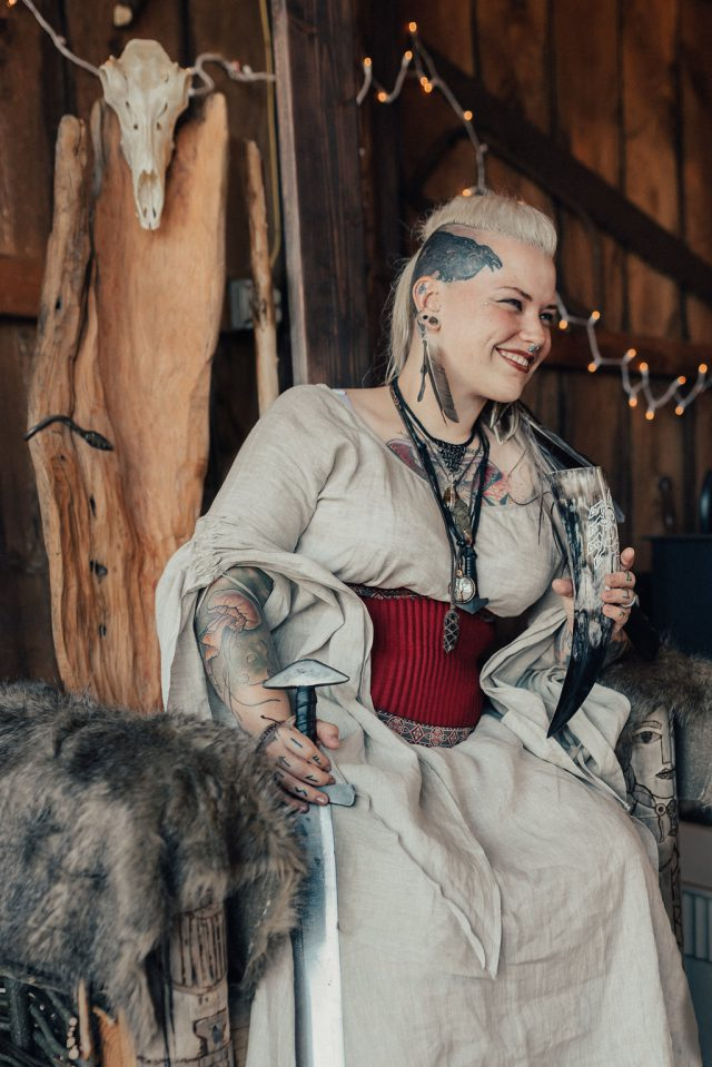 The wedding dress was custom-made, and it perfectly showed the spirit of the vikings