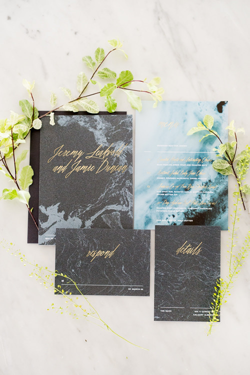 The wedding stationery was done in dark and blue marble, with gold calligraphy, which looks very masculine and chic