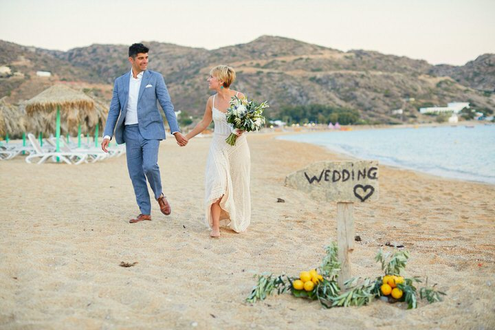 The wedding was filled with herbs, local citrus and took place right on the beach