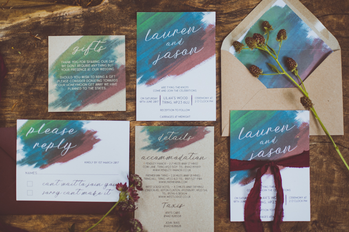 Watercolor wedding stationery suite in bright shades was made for the shoot