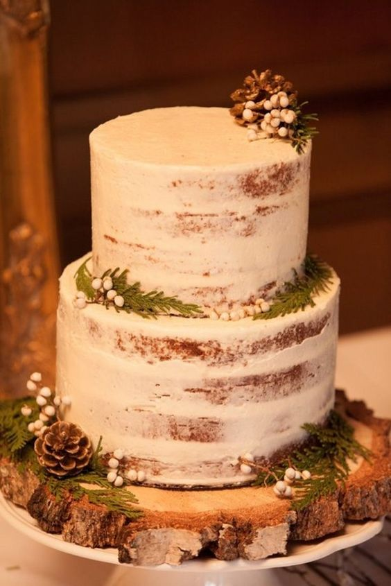A Simple Semi Naked Wedding Cake Topped With Pinecones Ferns And Berries For Rustic