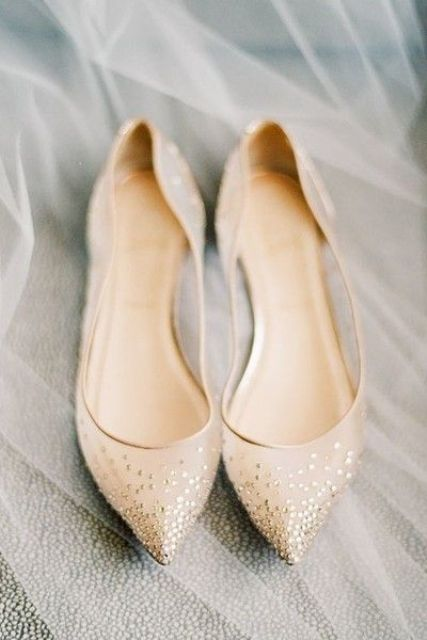 champagne-colored sheer flats with gold sparkles for comfort and a glam feel