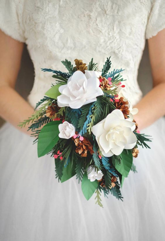 gorgeous winter-inspired wedding bouquet with paper flowers, evergreens and leaves