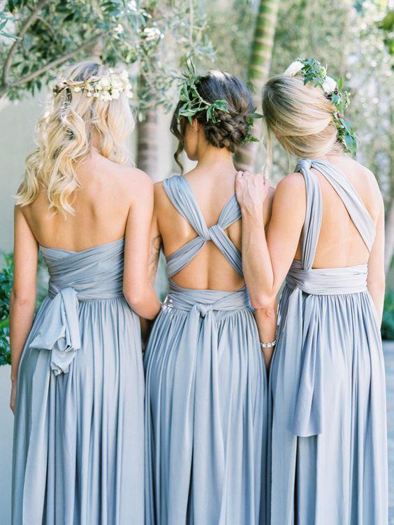 soft blau, umwandelbar Brautjungfern Kleider können getragen werden, anders