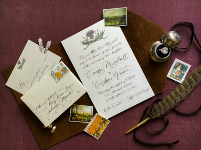 The weddding stationery was done with calligraphy and garden flower prints to highlight the vintage feel