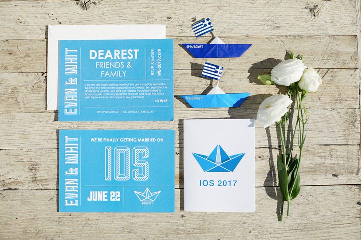 The wedding invitation suite was done in cobalt blue and turquoise and was completely seaside inspired