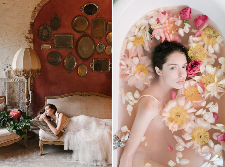 What better way to prep for your wedding day than by bathing in a tub of peonies and petals
