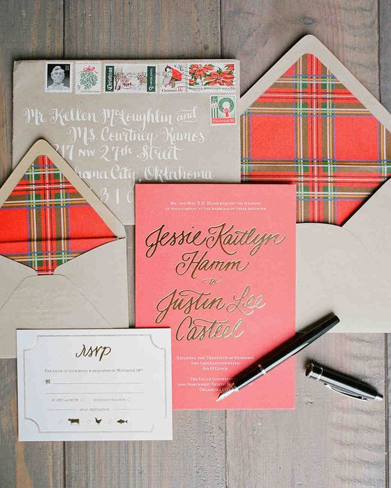 a neutral wedding stationery suite with plaid lining looks holiday-like and super cute