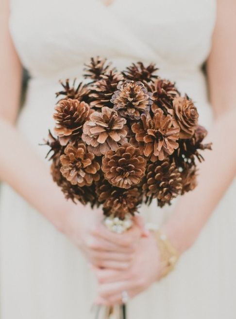 a simple pinecone bouquet is ideal for brides who don't like flowers