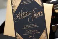 03 black and gold foil wedding stationery with calligraphy and beams