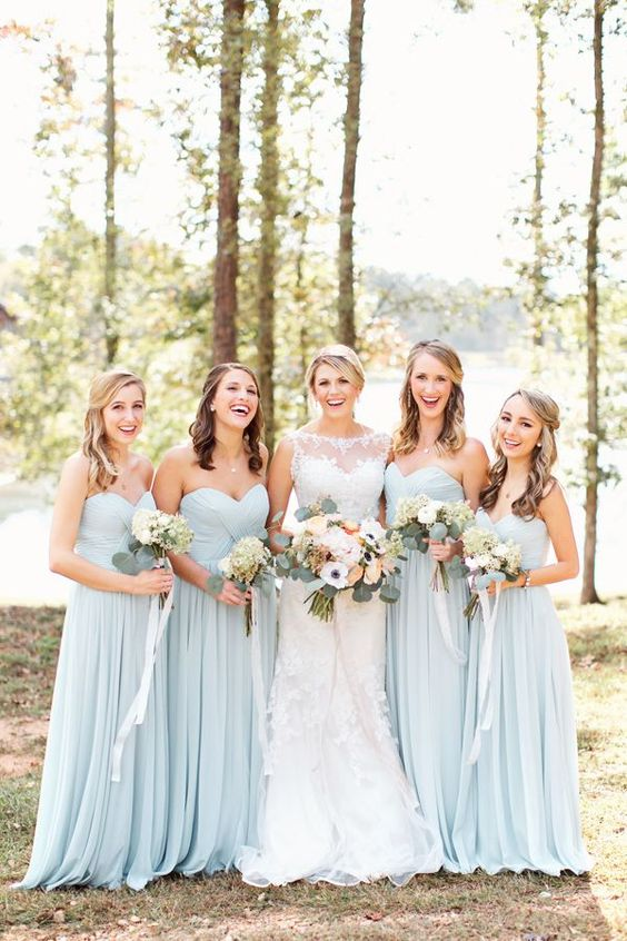 pale blue sweetheart neckline strapless dresses with flowy skirts