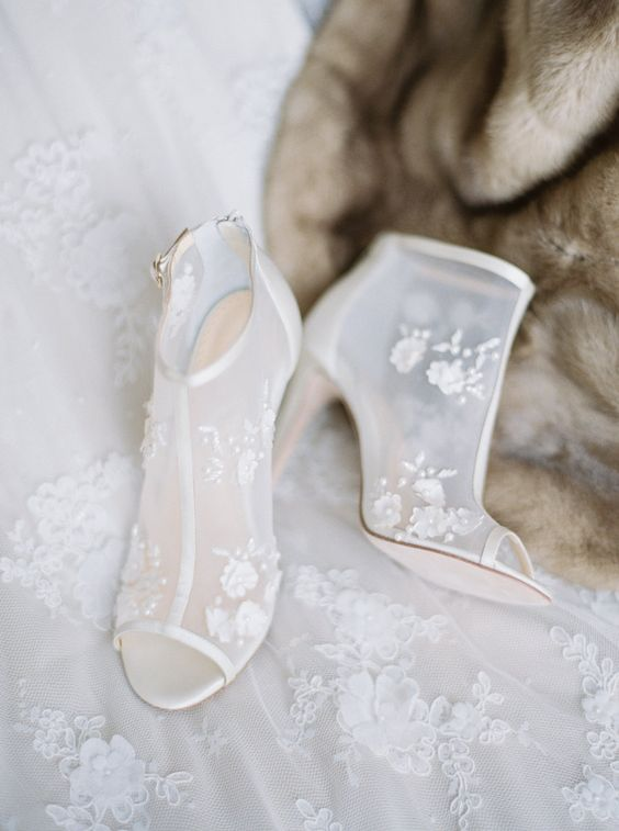 peep toe sheer wedding booties with lace appliques look romantic and very chic
