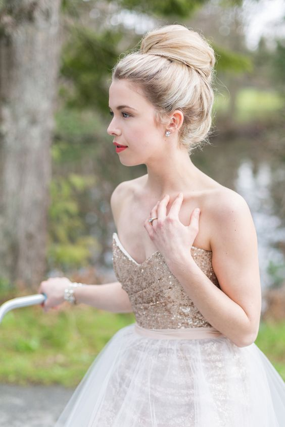 a champagne-colored strapless wedding dress to sparkle a bit and stand out in snow