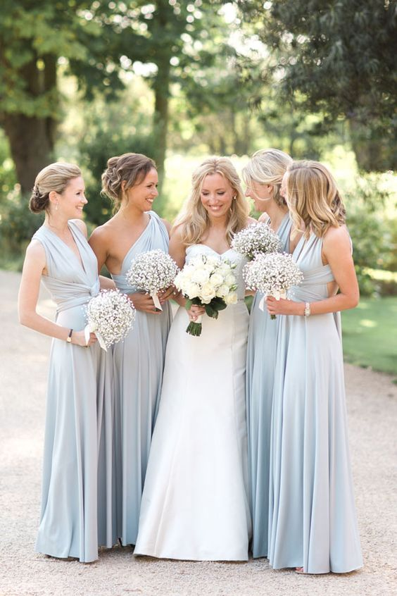 pale blue sleeveless and one shoulder bridesmaids' dresses