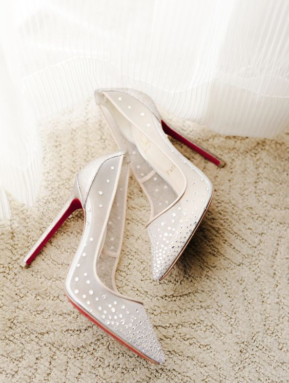 pointed sheer ivory wedding shoes with rhinestones look glam and chic