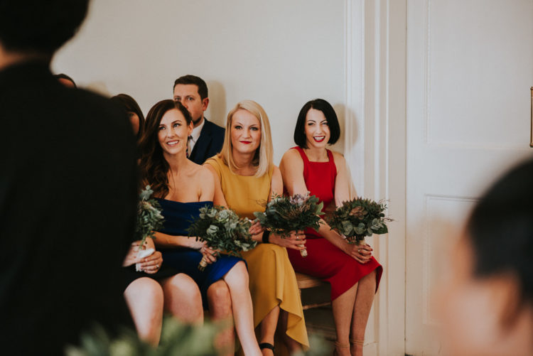 The bridesmaids were wearing different dresses to show off their style and personalities