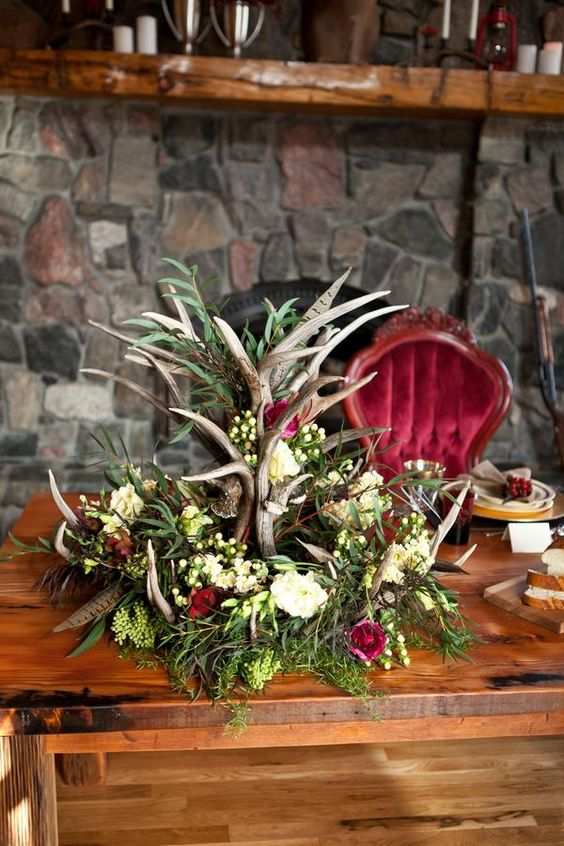 woodland centerpiece for a winter wedding table