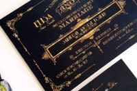 05 gorgeous black and gold foil wedding invitations with cool art deco prints