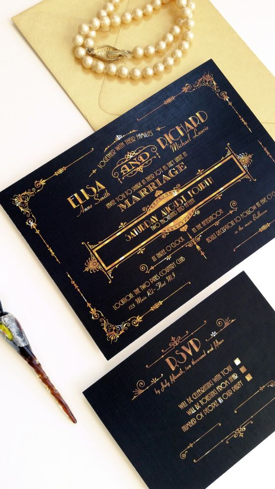 gorgeous black and gold foil wedding invitations with cool art deco prints