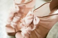 05 sheer blush wedding booties with peep toes and ruffles for a trendy bride
