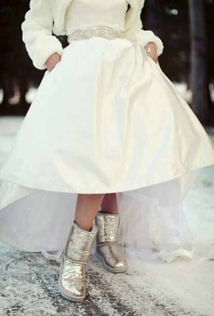 silver glitter uggs will add a glam feel and you'll be comfortable while shooting or getting hitched outside