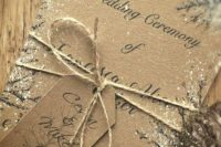 05 simple cardboard wedding invites with snow and twine look rustic and cozy