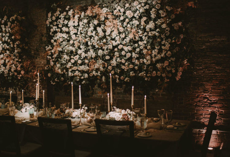 The reception space is sure to make your jaw drop when you'll see these abundant real flower walls