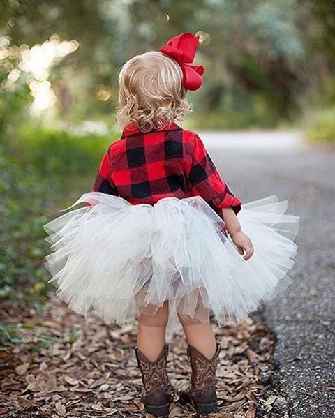 Picture Of A Flower Girl In A Tutu A Plaid Shirt Cowboy