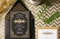 06 black and gold wedding invitation for a Gatsby-themed wedding