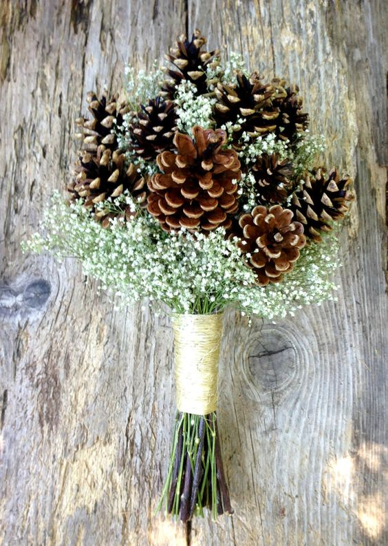 pinecones and dried baby's breath is an ideal combo for a rustic bride
