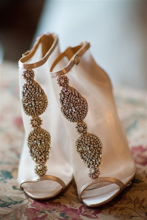 sheer champagne-colored wedding booties with heavy embellishments for a fashion-forward bride
