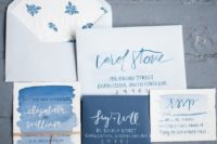 07 Delft blue wedding invitation suite with watercolor and floral lining can fit a spring or summer wedding