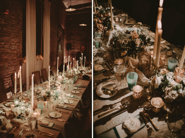 The space was almost entirely candle lit to keep the amosphere night-inspired