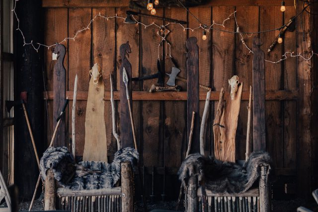 There were viking thrones made for the couple