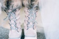 07 blush faux fur wedding boots are right what you need for a snowy wedding