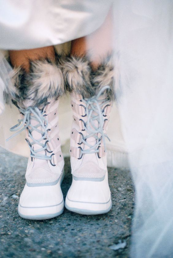 blush faux fur wedding boots are right what you need for a snowy wedding