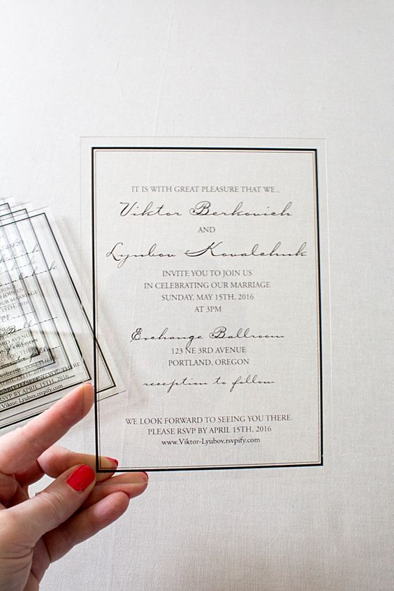 classic acrylic wedding invitations were printed with a black frame and stunning font layout for the invitation
