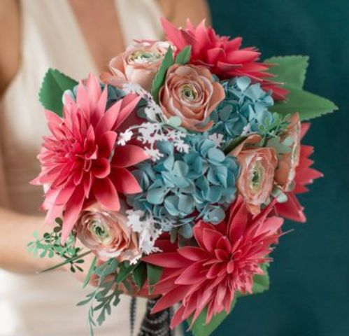 colorful pink, blue and peach paper bloom bouquet for a summer wedding