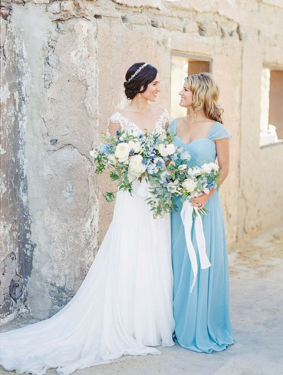 serenity blue cap sleeve sweetheart neckline maxi gown