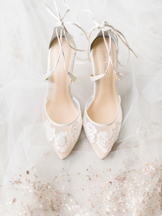 sheer lace up wedding shoes with lace appliques for a romantic and delicate look